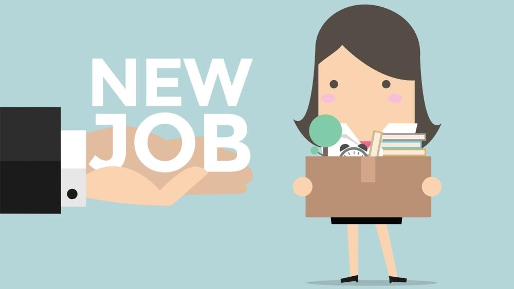 Arbeitgeberwechsel-cartoon-frau arbeitsuchend - ein reichende Hand bitet neuen Job