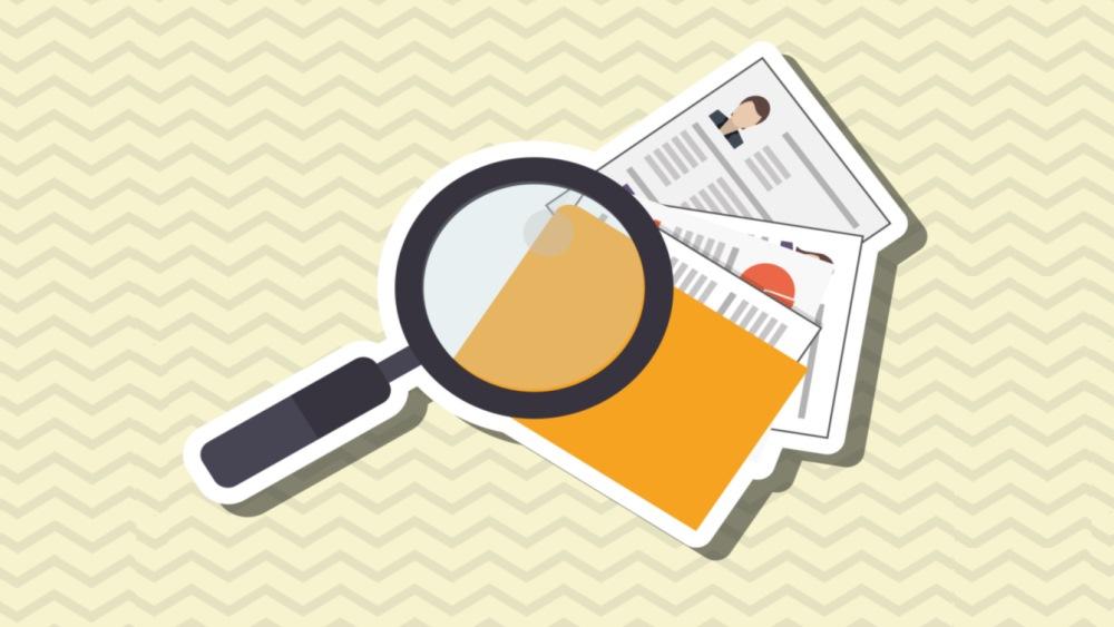 Arbeitszeugnisse in der Bewerbung-Grafik gelb Lupe über Unterlagen