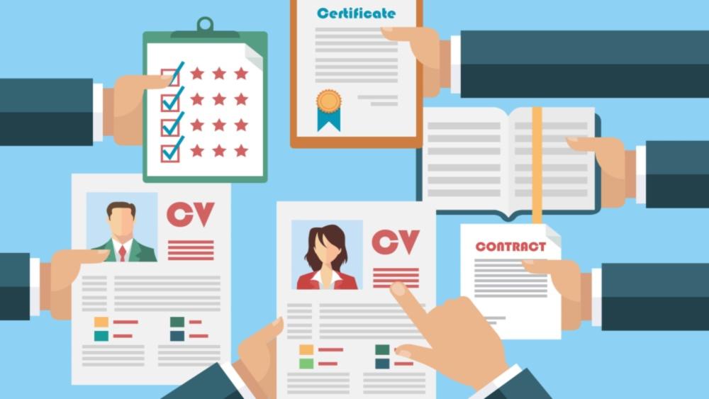 Aufbau Bewerbungsmappe:-Grafikbild-viele Hände halten CV ins bild