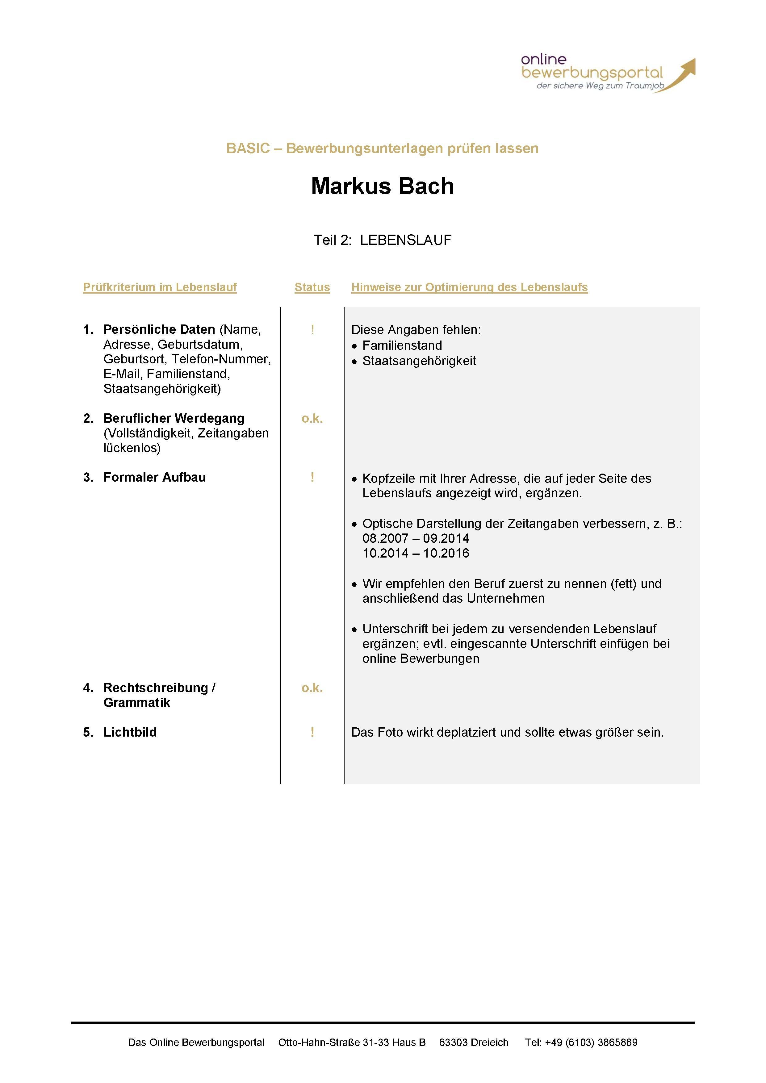 Unterlagencheck - Das Online Bewerbungsportal